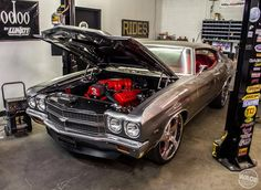 Sandman Designs 70 Chevelle #BecauseSS on 22/24 Forgiato 5 star brushed wheels ivy grey red interior 502