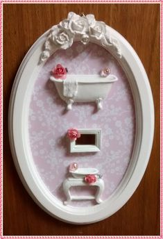 Quadro Cenário Lavabo Oval - Rosa Clean
