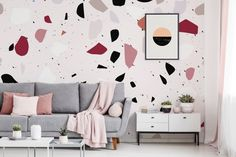 Big Pink Terazzo Wall Living Room Contemporary Wall Murals Posters Abstraction Pixers We Live To Change Big Pink Terazzo Wall Living Room Contemporary Wall Murals Posters Abstraction Pixers We Live To Change Big Pink Terazzo Wall Living Room Living Room Interior, Home Living Room, Living Room Designs, Living Room Decor, Interior Livingroom, Terrazzo, Contemporary Wallpaper, Wall Murals, Wall Decal