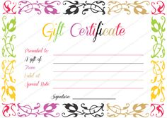 Flowers Gift Certificate Template  Gifting    Gift