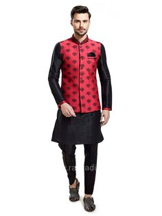 Look stylish in this Silk fabric black color kameez and red coloured koti crafted with thread work and fancy button. Available with Silk fabric black color bottom. Men's Waistcoat, Fancy Buttons, Nehru Jackets, Sherwani, Silk Fabric, Indian Wear, Traditional Outfits, Party Wear, Menswear