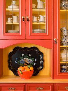 Kitchen cabinets painted orange shelves 47 ideas for 2019 Cabinet Paint Colors, Kitchen Paint Colors, Painting Kitchen Cabinets, Kitchen Layout, Kitchen Decor, Kitchen Ideas, Kitchen Tips, Kitchen Design, Orange Kitchen