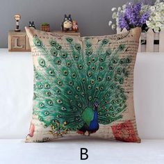 Green peacock decorative pillows for couch cheap animal sofa cushions