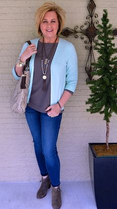 50 IS NOT OLD | BLUE AND GRAY LOOK GOOD TOGETHER | Pale blue | 3/4 sleeve cardigan | Fashion over 40 for the everyday woman