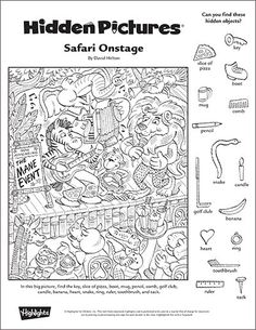 """Safari Onstage"" A Printable Hidden Pictures Puzzle More"