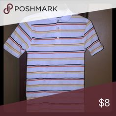 Boys shirt Short sleeve, three buttons, stripes, gently used, 65% polyester, 35% cotton, Size 10/12 Shirts & Tops Polos