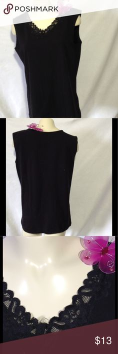 """White Stag Lace Embellished Tank Top Black tank top with sweet lace embellished neckline.                     Measurements:                  Armpit-armpit 20 1/2""""--Across shoulder 15 1/2""""--Across back 15""""--Neckline -hemline 24"""" White Stag Tops Tank Tops"""
