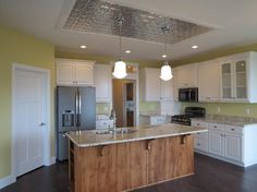 My kitchen! Love the tin ceiling!