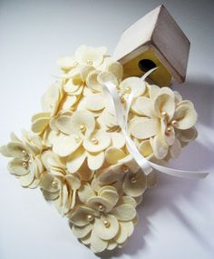 Wool Felt Flower Wedding Ring Pillow in Cream or by HeyMiemie, $65.00