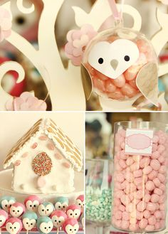 See-Through Ornaments filled with Jelly Beans, put on Owl Face and Wings and you have the cutest decor/giveaway for Owl-themed Baby-Shower - Just in Blue for my Nephew ;-)