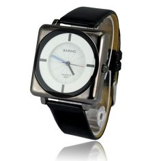 Luxurious Elegance Black and White Feminine Quartz Wristwatch with Colored Hands and PU Leather Band
