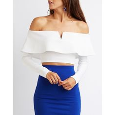 Charlotte Russe Tiered Off-The-Shoulder Crop Top ($20) ❤ liked on Polyvore featuring tops, white, knit top, white knit top, crop top, off the shoulder tops and long-sleeve crop tops