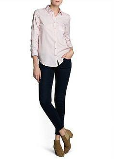 MANGO - CLOTHING - Tops - Shirts - Cotton oxford shirt Color: rosa oxford