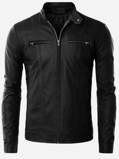 Winter Wear Men Black Leather Jacket