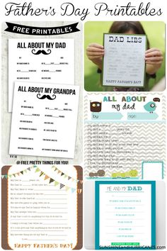 Make a special keepsake for the Dad in your kid's life! This collection of fun, FREE printables will turn into funny and memorable experiences. Perfect for Grandpa, too, as priceless way to capture your children's view of their number one guys! Father's Day Printable Questionnaire Round-Up