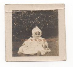Antique Vintage Photograph~Baby Girl~Child~White Dress~Outside~Grass~Holding Toy