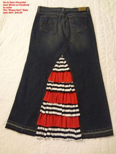 """The """"Klassy Kaci"""" jean skirt from """"Dee's Recycled Jean Skirts"""" on Facebook"""