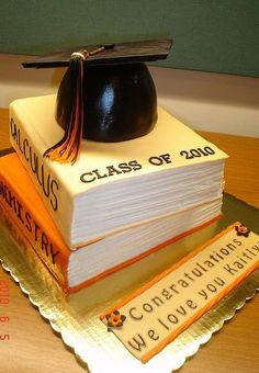 Elegant Graduation Cakes | Graduation cake with two textbooks and graduation cap on top.JPG