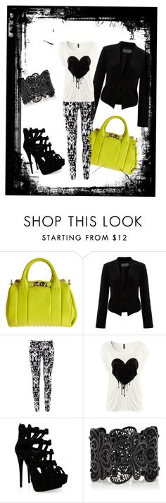 """""""bleeding heart"""" by cooney-cooney ❤ liked on Polyvore featuring Alexander Wang, Soaked in Luxury, H&M, Giuseppe Zanotti and Oasis"""