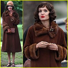 Angelina Jolie wearing mink fur coat while filming Changeling