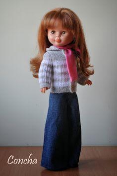Os propongo hacer un pantalón de los clásicos que lleva Nancy. Para ello voy a utilizar un patrón sencillo de pantalón. Va en una pie... Pram Toys, Nancy Doll, Dolls, American, Fashion, Doll Dress Patterns, Doll Patterns, Sewing Patterns, Doll Shoes