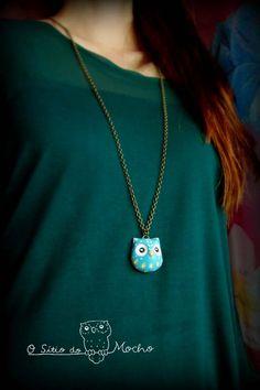 Blue owl head necklace. Handmade.