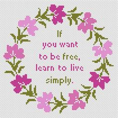 Live Simply cross stitch pattern