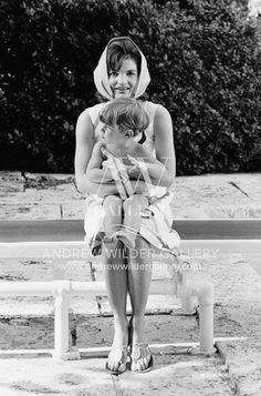 Picture of JFK JR with Mom (Jackie Kennedy) in Palm Beach