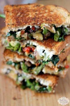 Roasted veggies & goat cheese sandwich