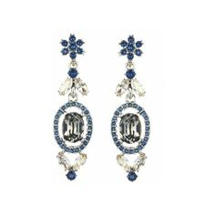 Oscar de la Renta Swarovski Crystal Floral Navette Drop Earrings ($390) ❤ liked on Polyvore featuring jewelry, earrings, black diamond, geometric earrings, drop earrings, nickel free earrings, long earrings and steel jewelry