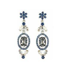 Oscar de la Renta Swarovski Crystal Floral Navette Drop Earrings ($390) ❤ liked on Polyvore featuring jewelry, earrings, black diamond, geometric earrings, drop earrings, nickel free earrings, long earrings and steel jewelry