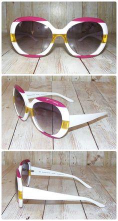 701db24eef Vintage 70s retro oversize round sunglasses white