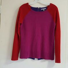 Nieman marcus cashmier sweater 100%, cashmere,  multicolor, red purple pink purple with zipper at the back. It will fit 4 to 6. Great with jeans , worn once, like new nieman marcus  Sweaters Crew & Scoop Necks