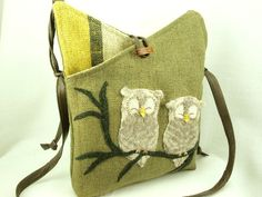 Owl Linen Shoulder Bag  Linen Messenger Bag Hip Bag Moss Green Owl Applique Adjustable Leather Strap Upcycled Eco-Friendly. $38.00, via Etsy.