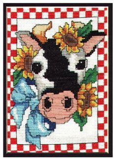 Cow and Sunflower Cross Stitch