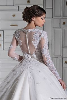 chrystelle atallah bridal spring 2014 long sleeve ball gown wedding dress illusion back view close up