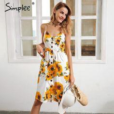 6e988b860e Strap v neck summer women Sunflower print backless casual dress