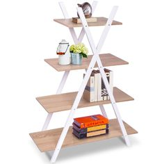 """Giantex 4 Tier Bookshelf Storage Shelves Bookcase Ladder Shelf Home Office X-Shape Potted Plant or Flower Rack Display Shelves Easy Assembly (Natutal and White, 31.5"""" LX13.0 WX42.9 H) -- More info could be found at the image url. (This is an affiliate link)"""