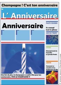 Carte Journal d'actu l'Anniversaire pour envoyer par La Poste, sur Merci-Facteur !