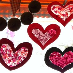 Valentines day sun catchers <3  Tissue paper + construction paper + contact paper (or tape even)