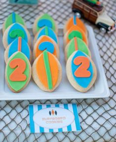 Surf / Beach Party ~ Surfboard Cookies But 5 instead of course Luau Party, Beach Party, Surfer Party, Moustache Party, Boy Birthday Parties, 2nd Birthday, Birthday Celebrations, Birthday Ideas, Party Queen