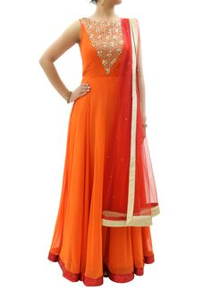 In a vibrant orange colour, Silvereene brings to you a spectacular outfit that will sweep the onlookers off their feet when you wear it. Have a look at it on  strandofsilk.com! #indianfashion #orange #anarkali #orange #colourful #gorgeous #elegant #silvereene #strandofsilk #indiandresses #indianfashionclothes #indianstyle #beautiful
