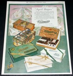 1925 OLD MAGAZINE PRINT AD, WHITMAN'S CHOCOLATES, EASTER SAMPLER & PIRATE BOXES!
