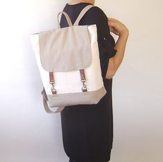 Natural Ivory and Beige  Backpack Unique Design of by BagyBag, $87.70