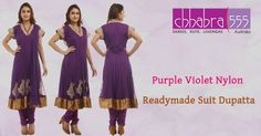 Visit Chhabra555 with Responsive Customer Service - enquiries responded within 24 hours and Buy Purple Violet Nylon Readymade Suit Dupatta in Australia @ $190.95 AUD
