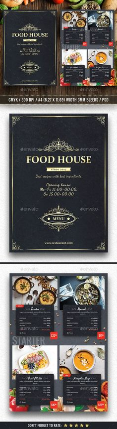 Food House Menu by Yoopiart file or approx. with bleeds DPI Very Easy to Customize Well Organized Layers All Menu Restaurant Design, Food Menu Design, Restaurant Menu Template, Restaurant Flyer, Restaurant Identity, Restaurant Ideas, Brochure Food, Brochure Design, Flyer Design
