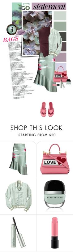 """""""Arm Candy: Statement Bags"""" by lacas ❤ liked on Polyvore featuring Again, Dolce&Gabbana, Gap, Marc Jacobs, Origins, MAC Cosmetics and statementbags"""