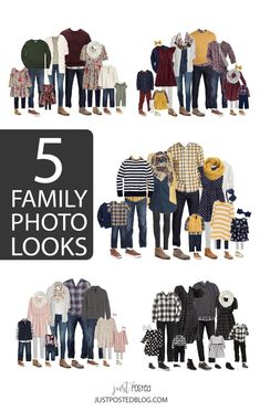 5 different options for what to wear for family pictures from babies and toddlers to adults! Some of these will be absolutely perfect for Christmas card pictures too. Each look has links included and 5 completely different color schemes for Family Photos. Fall Family Picture Outfits, Winter Family Pictures, Family Portrait Outfits, Family Pictures What To Wear, Family Picture Colors, Fall Family Portraits, Family Picture Poses, Winter Photos, Family Picture Clothes