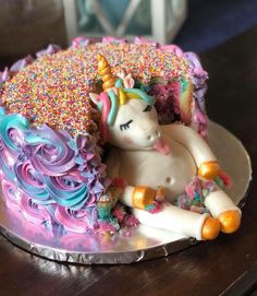 Chubby Unicorn Cake by Anchors Away Cakes and Events in Florida. Baker and Desi… Chubby Unicorn Cake by Anchors Away Cakes and Events in Florida. Baker and Designer: Ashley Wheeler Gerds Unicorn Birthday Parties, Unicorn Party, Girly Birthday Cakes, 5th Birthday, Birthday Ideas, Mini Cakes, Cupcake Cakes, Fat Unicorn, Unicorn Cakes