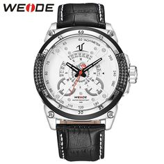 >> Click to Buy << WEIDE Fashion Business Quartz Watch Men Analog Calendar Display White Dial Leather Strap Watches Waterproof Relogio Masculino #Affiliate